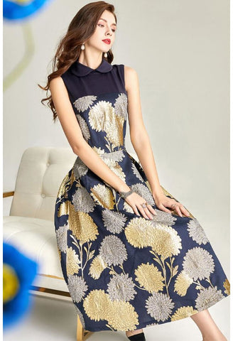 Image of Jacquard Midi Dresses Vintage Sleeveless - 4