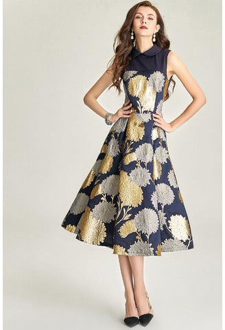Image of Jacquard Midi Dresses Vintage Sleeveless - 2