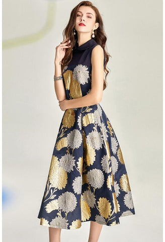 Image of Jacquard Midi Dresses Vintage Sleeveless - 1
