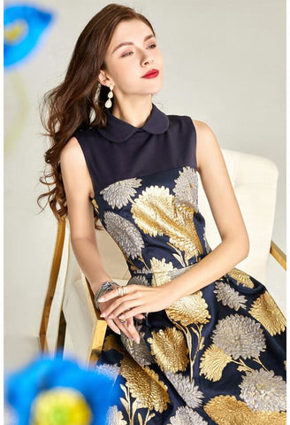 Image of Jacquard Midi Dresses Vintage Sleeveless - 5