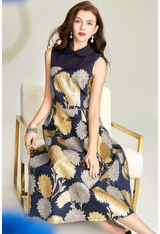Image of Jacquard Midi Dresses Vintage Sleeveless - 3