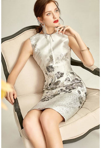 Image of Jacquard Pencil Dresses Sleeveless - 5