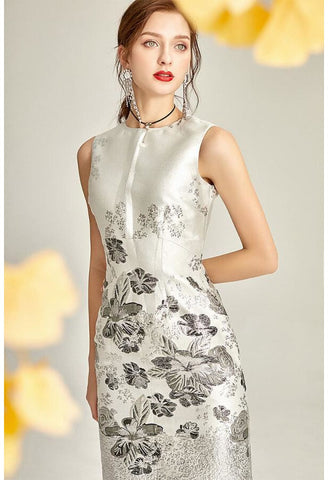 Image of Jacquard Pencil Dresses Sleeveless - 2
