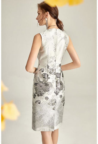 Image of Jacquard Pencil Dresses Sleeveless - 6