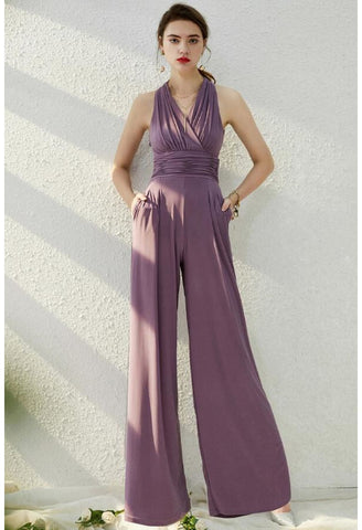 Jumpsuit Dresses Sleeveless V-Neck - 1
