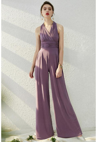 Jumpsuit Dresses Sleeveless V-Neck - 3