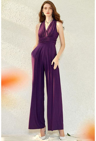 Jumpsuit Dresses V-Neck Sleeveless - 1