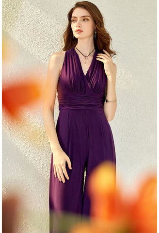 Jumpsuit Dresses V-Neck Sleeveless - 2
