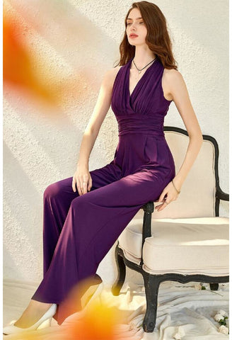 Jumpsuit Dresses V-Neck Sleeveless - 3