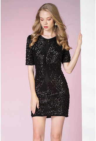 Image of Knee Length Cocktail Dresses Glamorous Sequins - 5