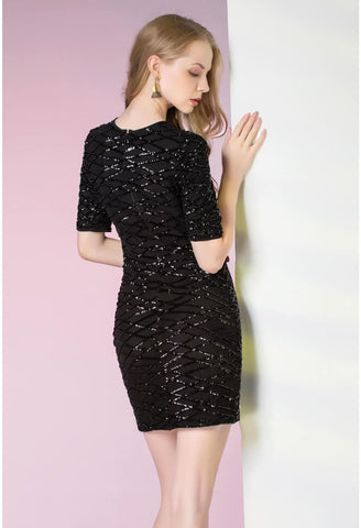 Image of Knee Length Cocktail Dresses Glamorous Sequins - 2