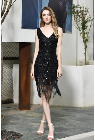 Image of Knee Length Cocktail Dresses Junoesque Sequins Embellished Tassel Hemline Little Black Dress - 2