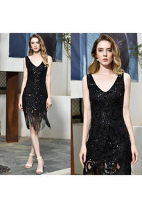 Knee Length Cocktail Dresses Junoesque Sequins Embellished Tassel Hemline Little Black Dress - 7
