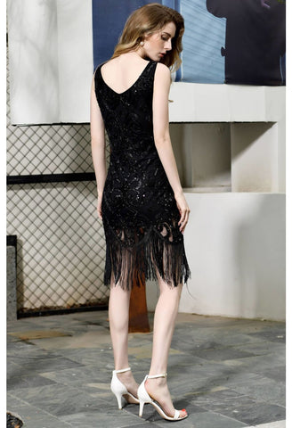 Image of Knee Length Cocktail Dresses Junoesque Sequins Embellished Tassel Hemline Little Black Dress - 4