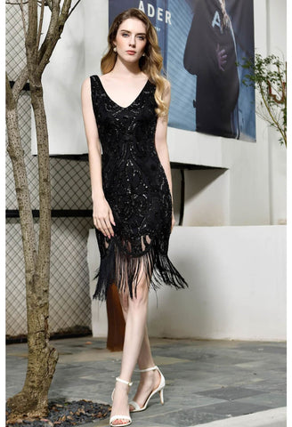 Image of Knee Length Cocktail Dresses Junoesque Sequins Embellished Tassel Hemline Little Black Dress - 3