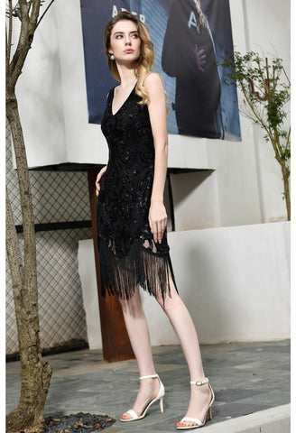Image of Knee Length Cocktail Dresses Junoesque Sequins Embellished Tassel Hemline Little Black Dress - 6