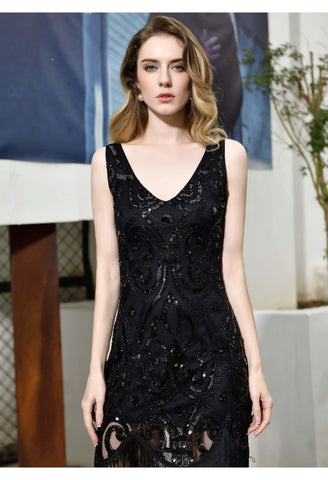 Image of Knee Length Cocktail Dresses Junoesque Sequins Embellished Tassel Hemline Little Black Dress - 5