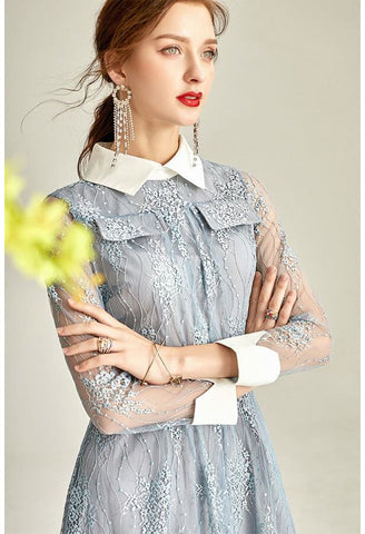 Image of Lace Midi Dresses Lapel Long Sleeves - 3