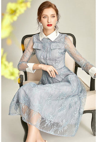 Image of Lace Midi Dresses Lapel Long Sleeves - 4