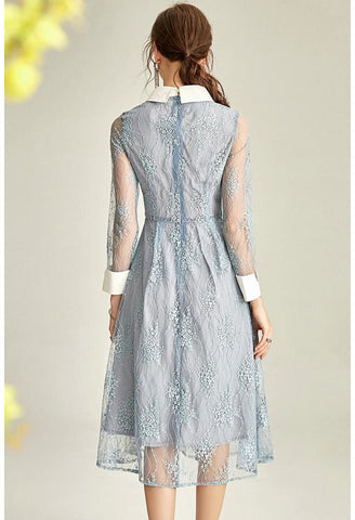 Image of Lace Midi Dresses Lapel Long Sleeves - 5