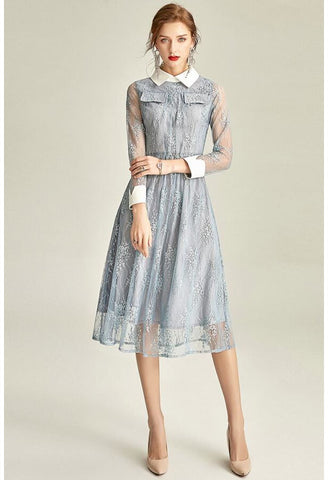 Image of Lace Midi Dresses Lapel Long Sleeves - 1