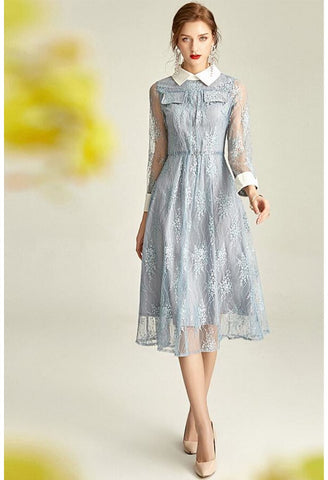Image of Lace Midi Dresses Lapel Long Sleeves - 2