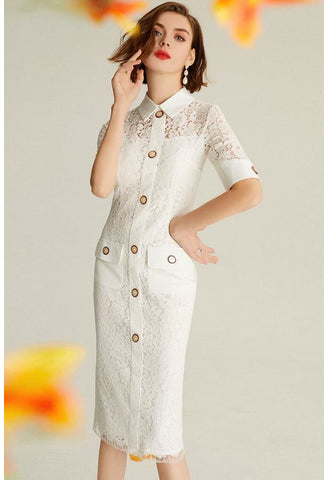 Image of Lace Pencil Dresses White Lapel - 4