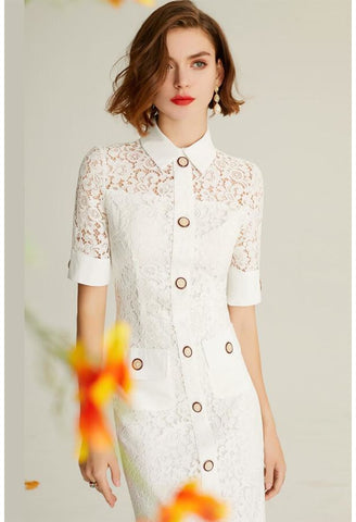 Image of Lace Pencil Dresses White Lapel - 2