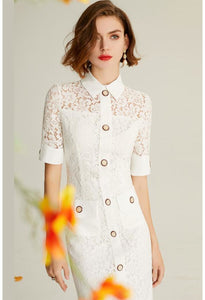 Lace Pencil Dresses White Lapel - 2