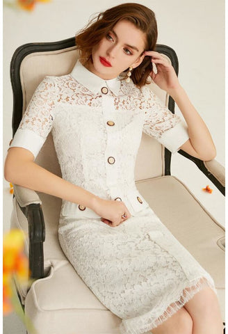 Image of Lace Pencil Dresses White Lapel - 5