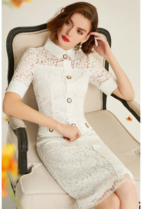 Lace Pencil Dresses White Lapel - 5