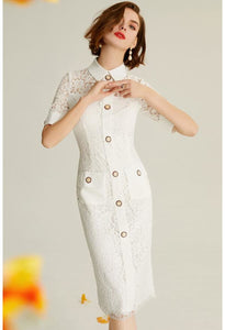 Lace Pencil Dresses White Lapel - 1