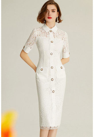 Image of Lace Pencil Dresses White Lapel - 3