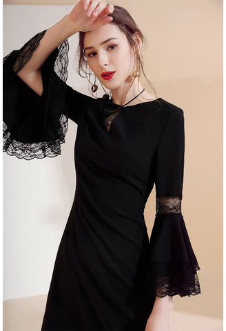 Image of Little Black Dresses Trumpet Sleeves - 3