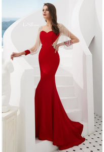 Mermaid Evening Dresses Stunning Beaded Tassel Sweetheart Neckline - 1