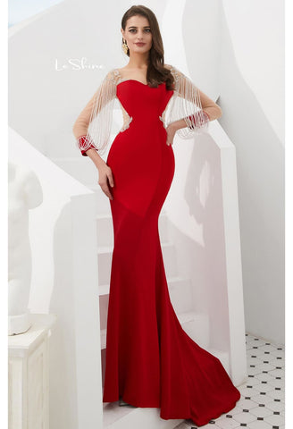 Image of Mermaid Evening Dresses Stunning Beaded Tassel Sweetheart Neckline - 3