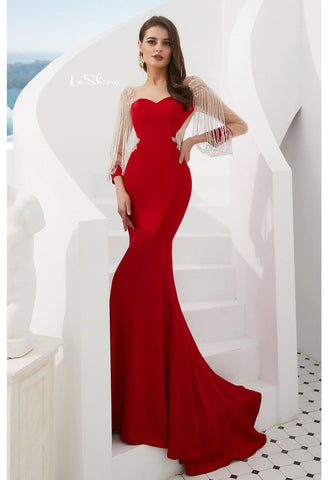 Image of Mermaid Evening Dresses Stunning Beaded Tassel Sweetheart Neckline - 4