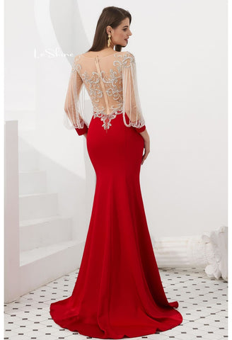 Image of Mermaid Evening Dresses Stunning Beaded Tassel Sweetheart Neckline - 2