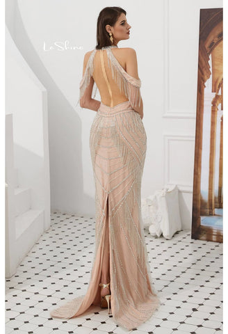 Image of Mermaid Evening Dresses Stunning Halter Neckline Beads with Beads Embellished Tassels - 2