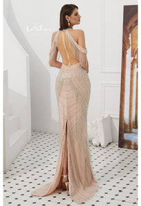 Mermaid Evening Dresses Stunning Halter Neckline Beads with Beads Embellished Tassels - 2