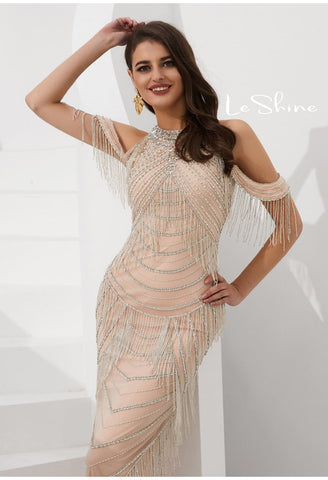 Image of Mermaid Evening Dresses Stunning Halter Neckline Beads with Beads Embellished Tassels - 5