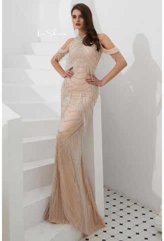 Image of Mermaid Evening Dresses Stunning Halter Neckline Beads with Beads Embellished Tassels - 6