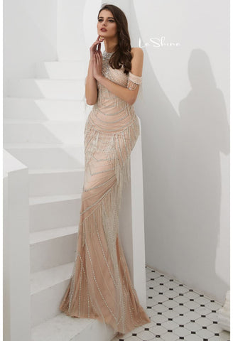 Image of Mermaid Evening Dresses Stunning Halter Neckline Beads with Beads Embellished Tassels - 4