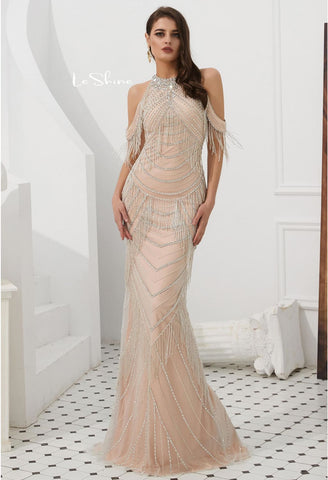 Image of Mermaid Evening Dresses Stunning Halter Neckline Beads with Beads Embellished Tassels - 1