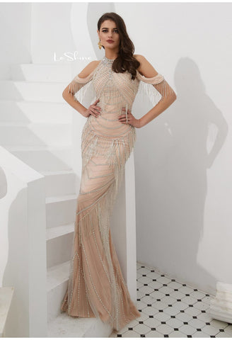 Image of Mermaid Evening Dresses Stunning Halter Neckline Beads with Beads Embellished Tassels - 3