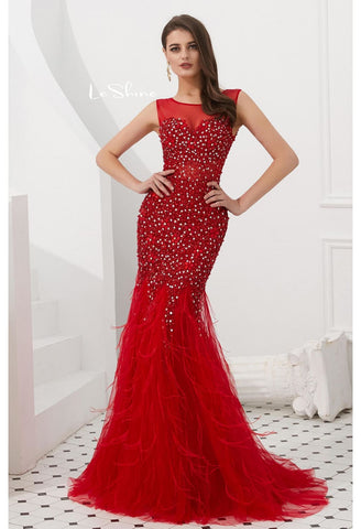 Image of Mermaid Evening Dresses Stunning Sheer with Tassels Embellished Tulle - 4