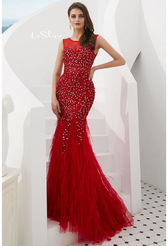 Image of Mermaid Evening Dresses Stunning Sheer with Tassels Embellished Tulle - 3