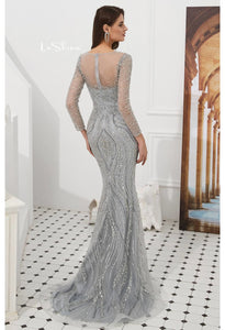 Mermaid Evening Dresses Stunning V-Neck with Sequins and Rhinestones Embellished Tulle - 2