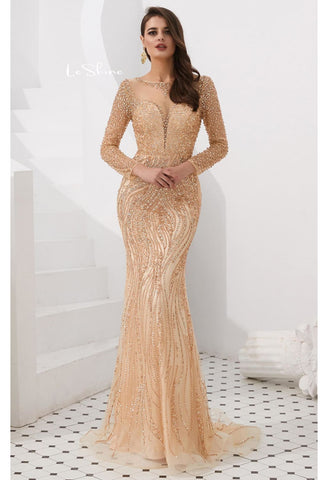 Image of Mermaid Evening Dresses Stunning V-Neck with Sequins and Rhinestones Embellished Tulle - 9