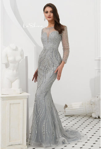 Image of Mermaid Evening Dresses Stunning V-Neck with Sequins and Rhinestones Embellished Tulle - 4